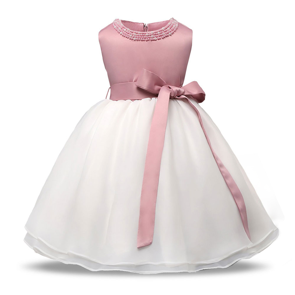 Baby Girls 1 Year Birthday Party Dresses Princess Baby Kids Clothes with Beadings Christening Dresses Baptism Gowns for Newborns