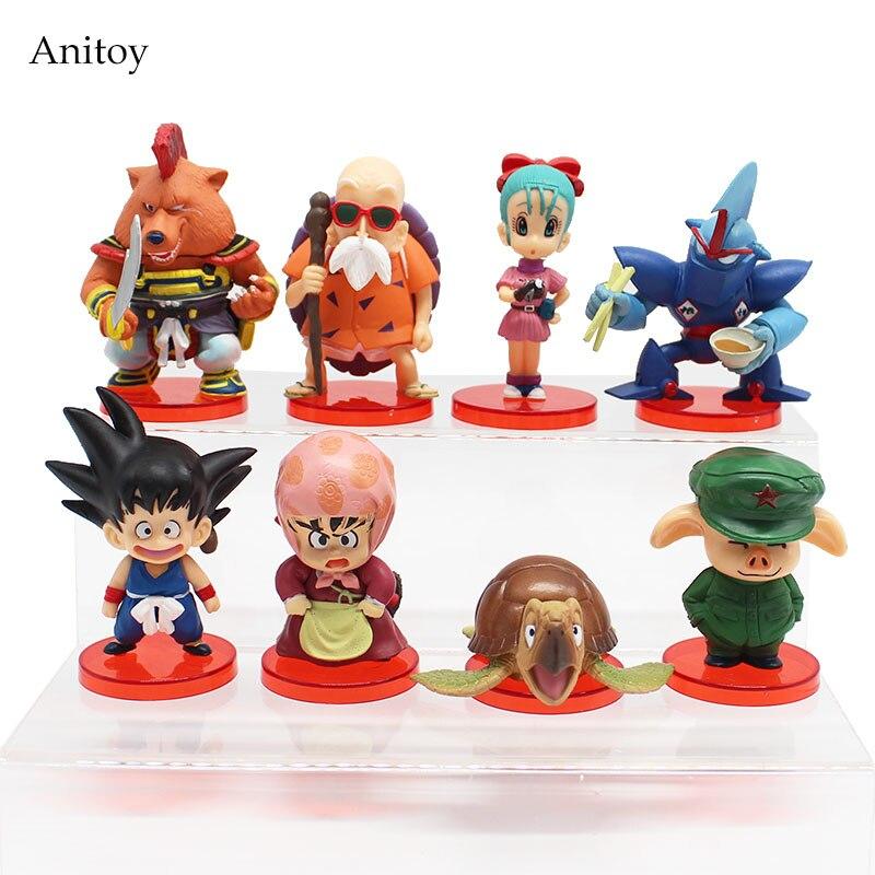 8pcs/set Dragon Ball Z Deformation chichi Son Goku Master Roshi Gogeta Gotenks Oolong PVC Figure Collectible Toy 4-7cm KT4141 dragon ball z figurines son goku gogeta