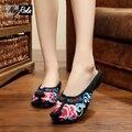 Новая Мода Китайский Стиль облако верхней части обувной моды вышивка красный сексуальная ретро женская обувь сандалии Досуг Комфорт флип флоп