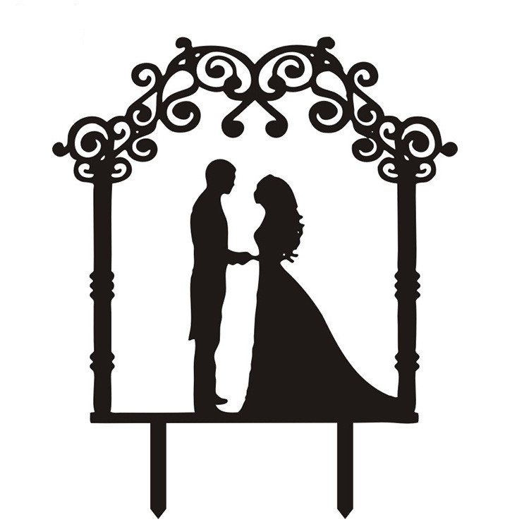 Acrylic Bride Groom Wedding Cake Flag Toppers Multi Colors For Wedding Anniversary Party Cake Decor Hot Sale
