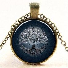 27MM Round Blue Tree of life 3D Time Gem Pendant Necklace Vintage Glass Cabochon Choker Necklaces Pendants HZ1