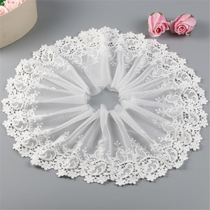 2 Yards 20CM White Lace Trims Milk Silk Embroidered Rose Flower Mesh Sew Patch For Wedding Appliques Bride Dress DIY