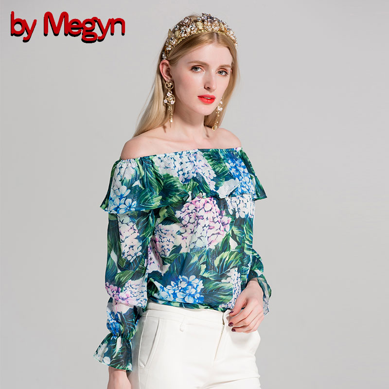 by Megyn sexy off shoulder print blouse 2019 summer shirts chiffon ruffle flare