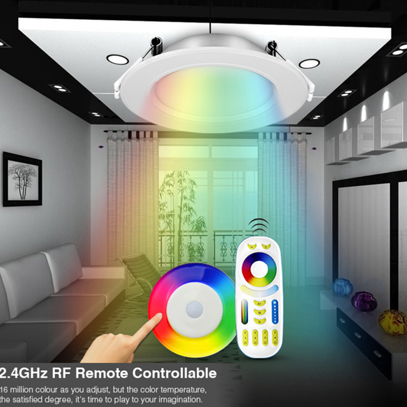 Milight 110V 220V 6W RGB+CCT FUT068 LED downlight Dimmable 2.4G Wireles Smart Led Lamp Lighting