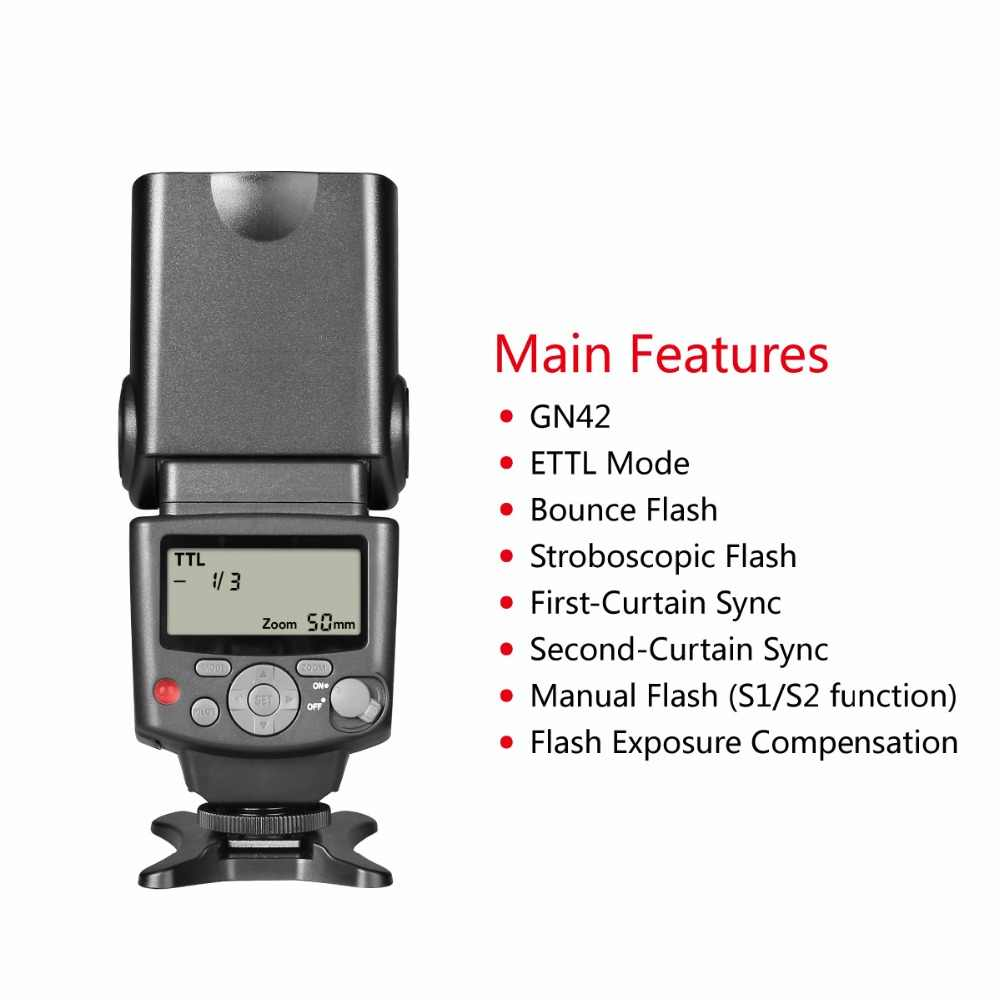 Voking VK430 E-TTL LCD Display Speedlite Shoe Mount Flash for Canon Eos  Digital DSLR Camera with Standard Hot Shoe Stand+GIFT