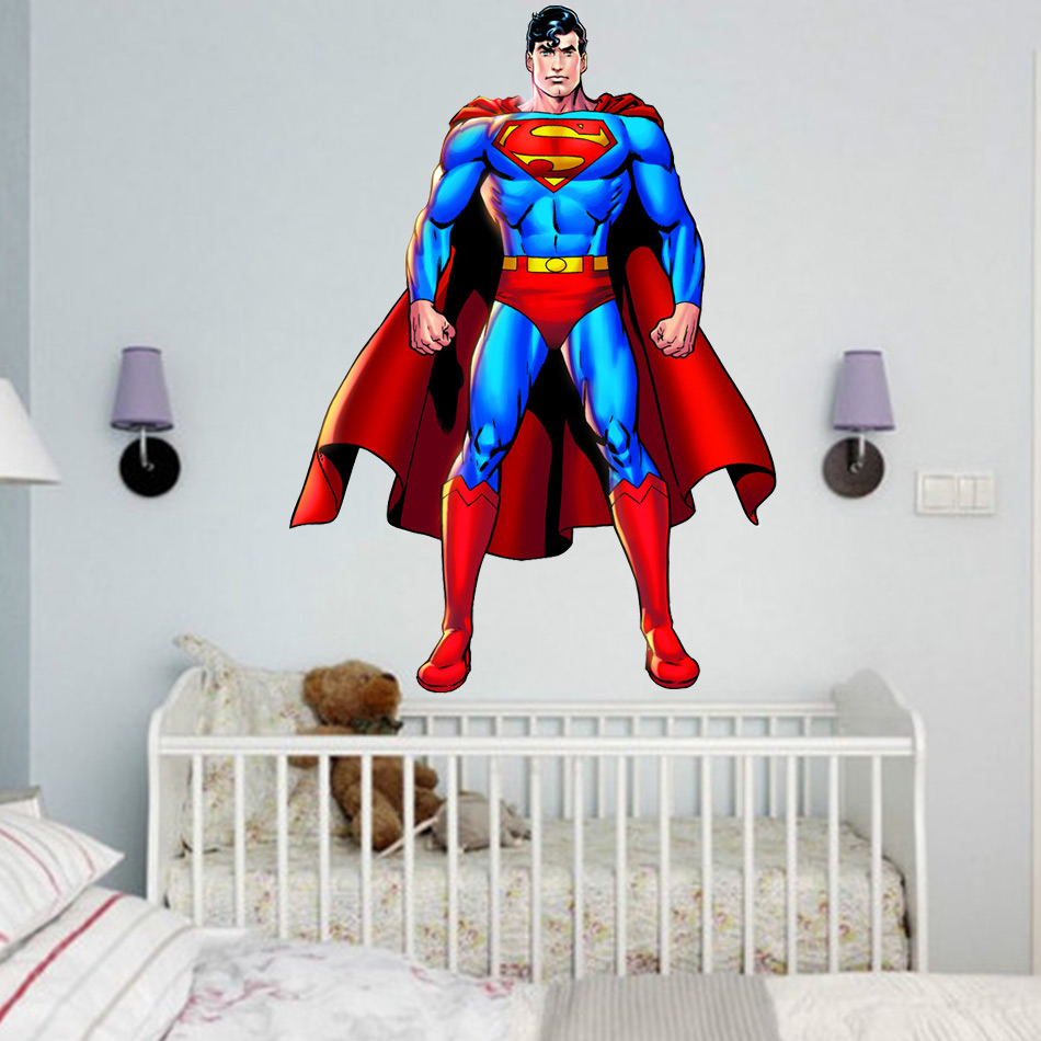 SUPERMAN WALL STICKER Decor Decal Vinyl Room Art Comics Decals 3D ...
