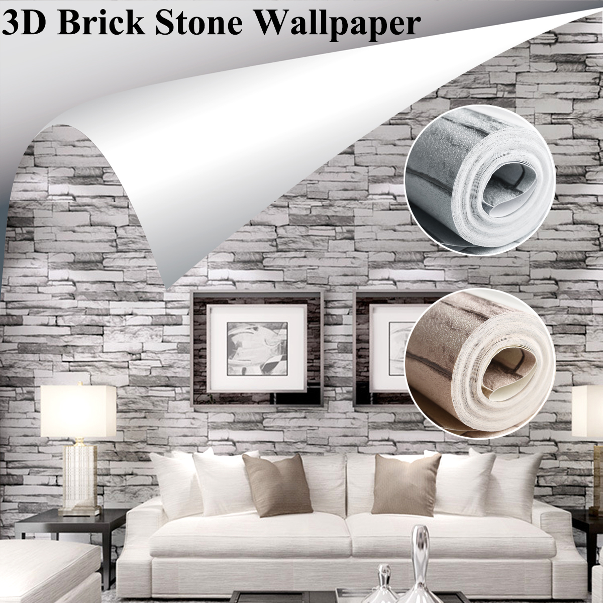 Modern 3D Brick Stone Wallpaper Vintage Brick Pattern For Living Room Wall Sticker Decor Waterproof TV Sofa Background цена