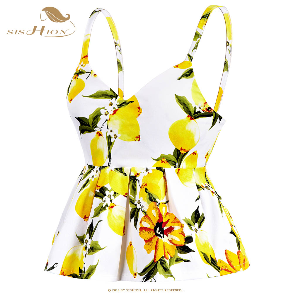 SISHION Crop   Top   2019 Summer   Tops   Sexy Vintage Lemon Cherry Floral Print Pleated Corset Vest Beachwear   Tank     Top   VT0002