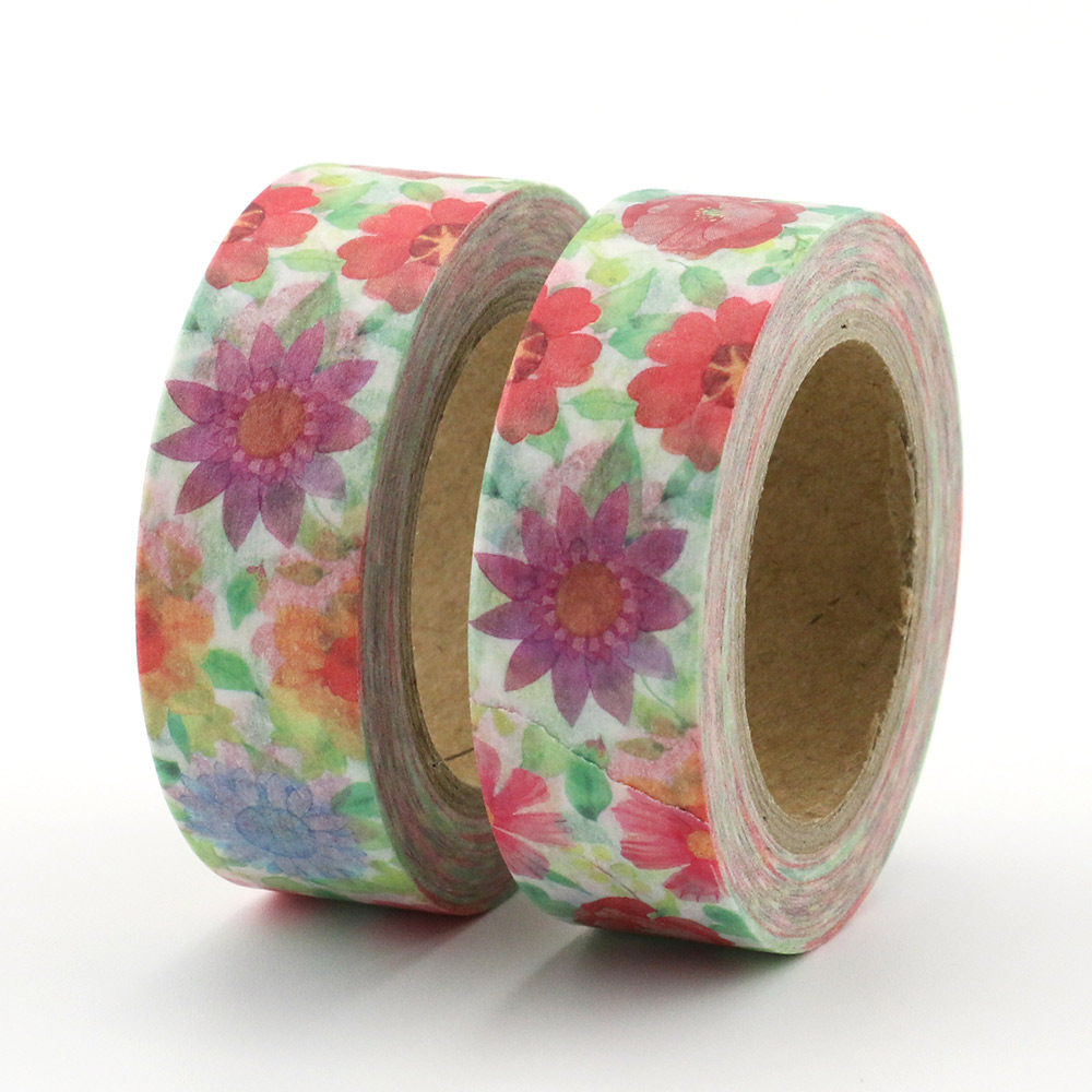 1 Roll Flower Sakura Rose Sunflower Masking Tape Washi Tape DIY Decorative Scrapbook Office Adhesive Tape Stationery