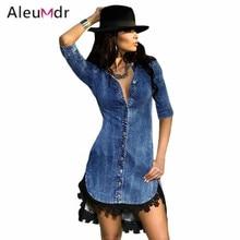 Aleumdr Autumn 2017 Sexy Casual Denim Dress Slim Short Sleeve Lace Trim Denim Mini Dresses For Women Vestido De Renda LC22439