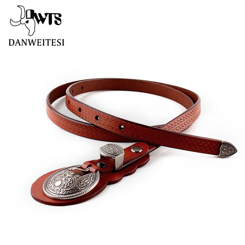 [DWTS] genuine leather women knot fine   belt   fashion vintage metal leather   belts   for women strap female pin buckle   belts