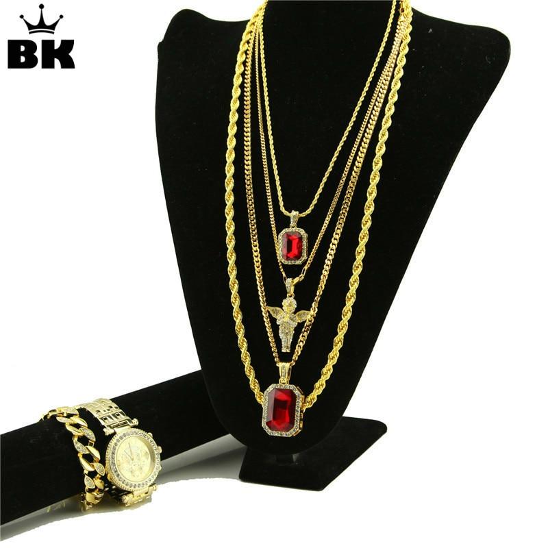 Men Hip Hop Iced Out Gold Tone Rhinestone Watch & Angel Rhinestone Necklace Miami Cuban Bracelet Set Fashion Luxury Jewerly Sets-ใน ชุดอัญมณี จาก อัญมณีและเครื่องประดับ บน   1