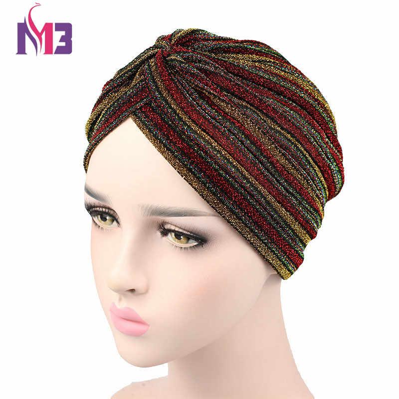Новая мода для женщин полосатый блестящий тюрбан Мерцающий Блеск блестящая головная повязка в виде чалмы шапки шапка мусульманский хиджаб тюрбант для женщин