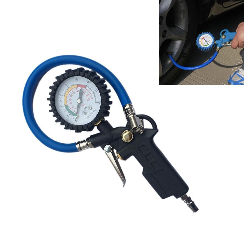 Pressure Car Tire Air Pressure Gauge Dial Meter Vehicle Inflation Gun Self-locking Pistol Grip Trigger Inflator For Auto 220PSl