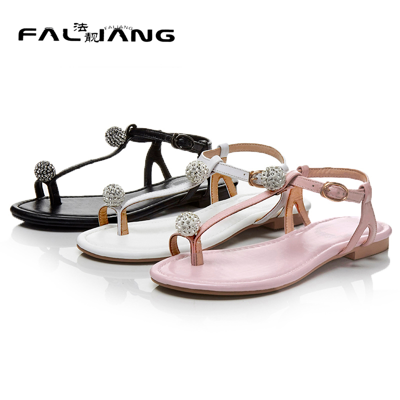 ФОТО 2017 New Genuine Leather Sweet Buckle Strap Flat Sandals Big Size 11 12 Casual Solid women shoes woman ladies womens