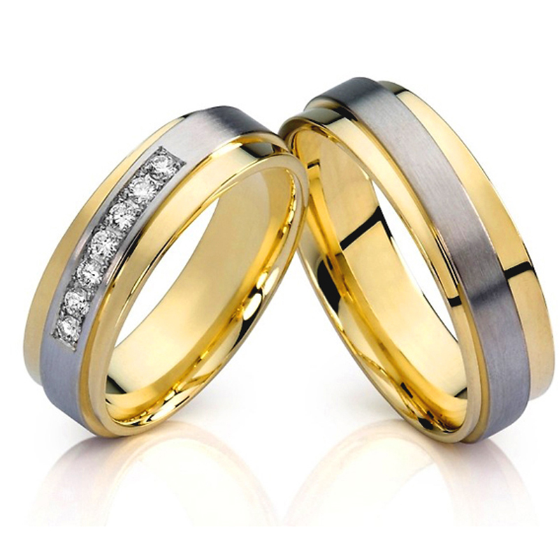 surgical stainless steel inlay tungsten carbide rings wedding bands for men and women gold color engagement rings set one set stylish rhinestone inlay embellished golden rings