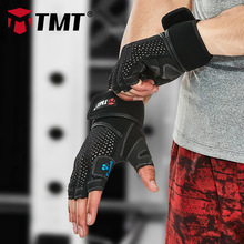 TMT Sport Fitness Gym Gloves Men Women Weight Lifting Body Building Powerlifting Barbell Dumbbell Training Exercise Crossfit tmt wrist strap weight lifting hand wraps crossfit dumbbell powerlifting wrist support sport wristband bandage training safety