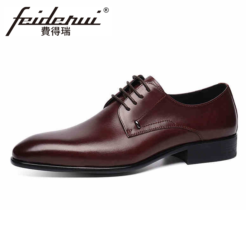 Luxury Pointed Toe Lace-up Mens Formal Dress Footwear Classic Genuine Leather Man Derby Wedding Party Shoes For Male YMX387