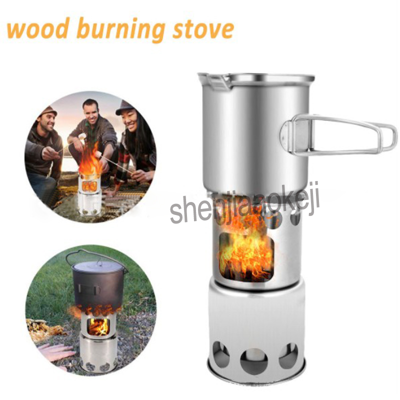 Multi-purpose camping grill stove Stainless Steel Outdoor windproof Wood burning stove / stove + pot set Combo Set 1pcMulti-purpose camping grill stove Stainless Steel Outdoor windproof Wood burning stove / stove + pot set Combo Set 1pc