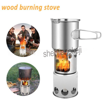 Multi-purpose camping grill stove Stainless Steel Outdoor windproof Wood burning stove / stove + pot set Combo Set 1pc