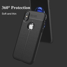 FastDeng Soft TPU Lichee For Iphone 7 8 X XS XR XSmax Case Scratchproof Litchi For Apple 5 5S 5E 6 6s 6P 6SP 7P 8P Leather Case цены онлайн