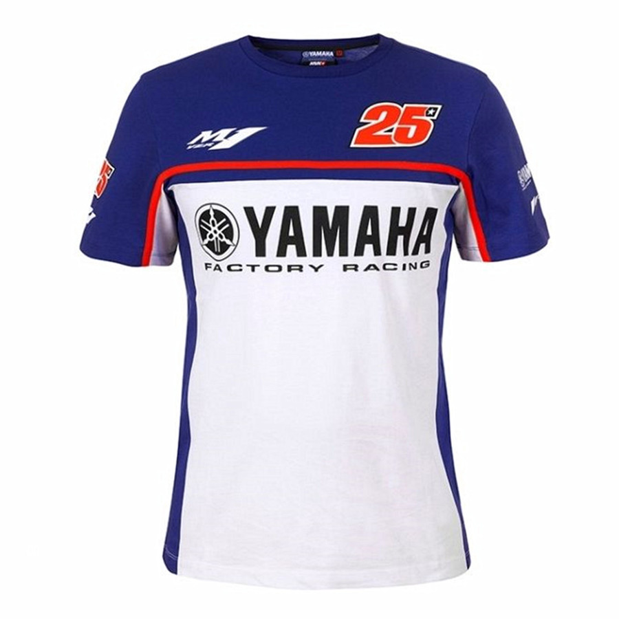 2018 Motorcycle motogp t shirt 100% Cotton N0.25 T-shirt For Yamaha factory racing M1 mo ...