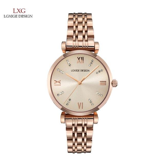 LGXIGE Senhoras relógios Top Marca de Luxo Relógio de Pulso Para As Mulheres em Ouro Rosa Diamante Relógio Moda Mulheres assistem rosefield montre femme