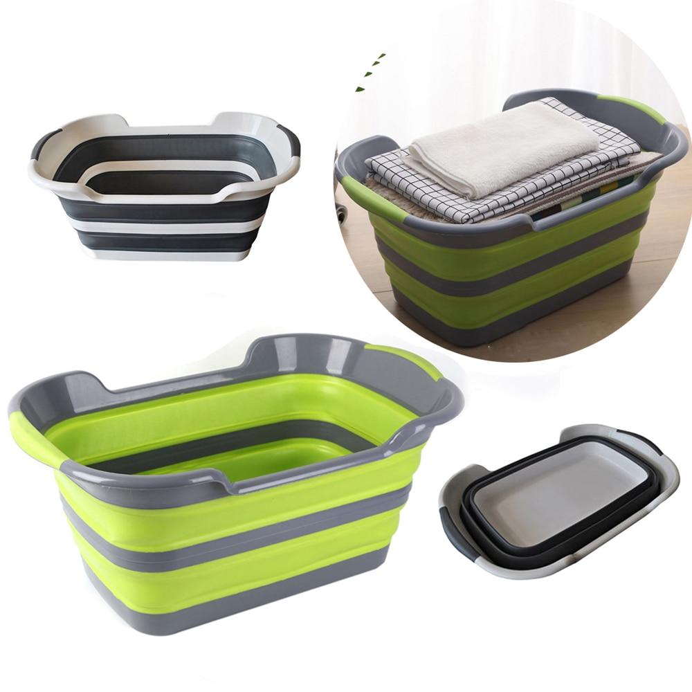 pp folding laundry basket portable stretch storage hamper