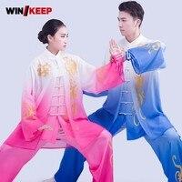 Наивысшего качества для женщин Тай Чи форма для ушу для выполнения боевых искусств наборы крыло Chun одежда с принтом мужской кунг фу спортив