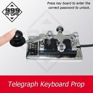 Código morse dispositivo de fuga sala telegraph teclado tipo direito código para abrir bloqueio ímã 999 adereços