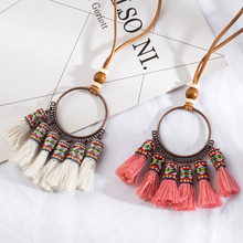 Statement necklace Bohemian ethnic long tassel fringed choker necklace Big round circle pendant necklace kolye wooden beads gift