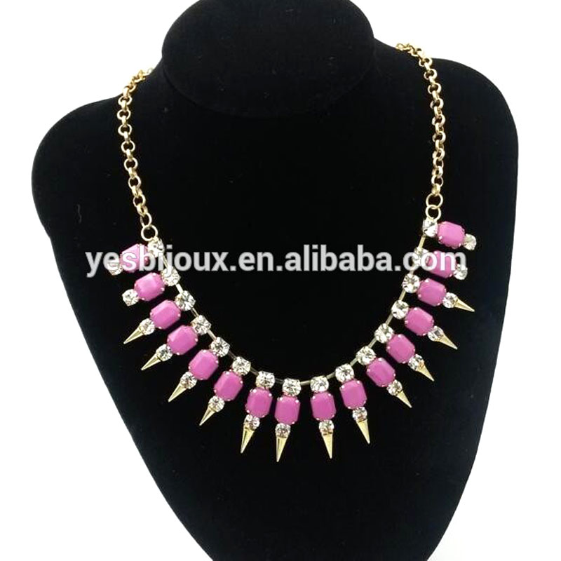 acrylic statement necklace resin costume jewelry hot sell crystal statement amazon jewelry|Pendant...
