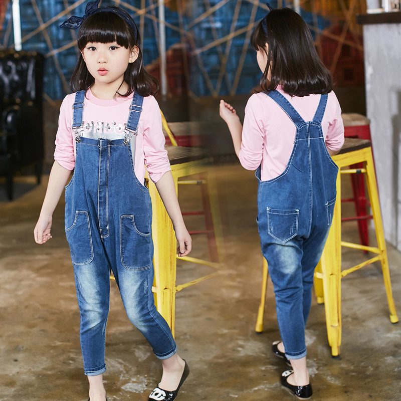 Loose Style Autumn Denim Overalls For Kids Girls 2016 New Style Children Girl Blue Jeans Elegant Jumpsuit Female Denim Bib Pants baggy jeans mens short hip hop pants blue loose style dance skateboard jeans calf length pants for boy and men rapper