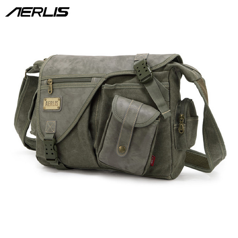 AERLIS Brand Handbag Men Messenger Shoulder Bags Casual Male Canvas Leather Satchel Travel Cross Body Bag Vintage Briefcase 4309 augur canvas leather men messenger bags military vintage tote briefcase satchel crossbody bags women school travel shoulder bags