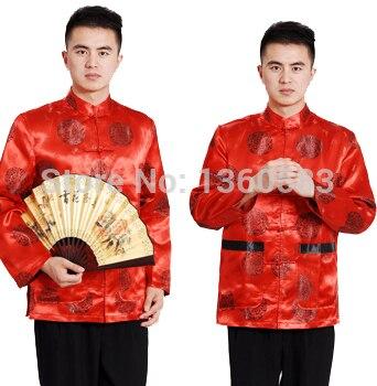 Rojo Tradicional Manual Tops Trajes Botón Estilo Chino Satén Tang A7ptwAHqx