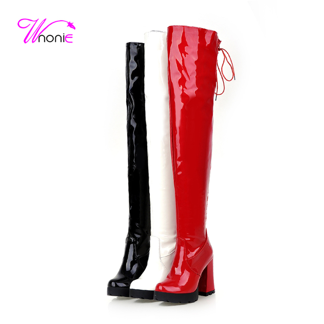 b07de822e02b 2017 Fashion Women Boots Riding Thigh High Patent Leather Zip Back Lace-up  Warm Plush Casual Party Sexy Winter Boots Ladies Shoe