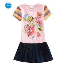 JUXINSU Girls Summer Cotton Short Sleeve Dresses Flower Rainbow Dress Kids Clothes for 1-8 Years