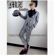 Men's Slim Korean bigbang rights Zhi Lu Han Long GD same suit jacket Printed black white suit Leather collar suit (suit +pants)