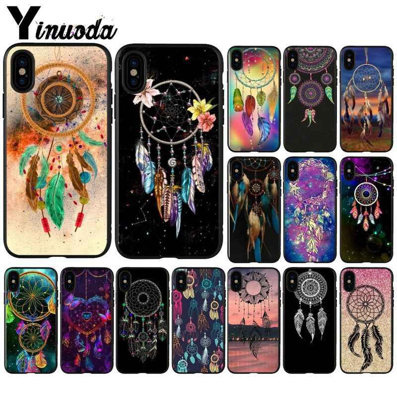 Yinuoda حلم الماسك ريشة الفن غطاء ذكي أسود لينة قذيفة الهاتف حقيبة لهاتف أي فون 5 5Sx 6 7 7plus 8 8Plus X XS ماكس XR
