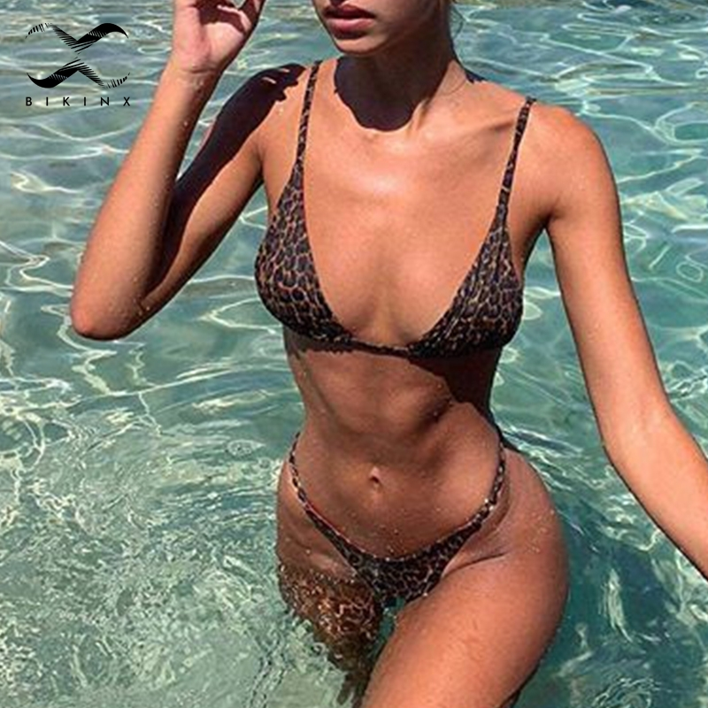 Bikinx Triangle String Sexy Swimwear Women Micro Bathing Suit Push Up Leopard Print Swimsuit Female Brazilian Thong Bikini 2019