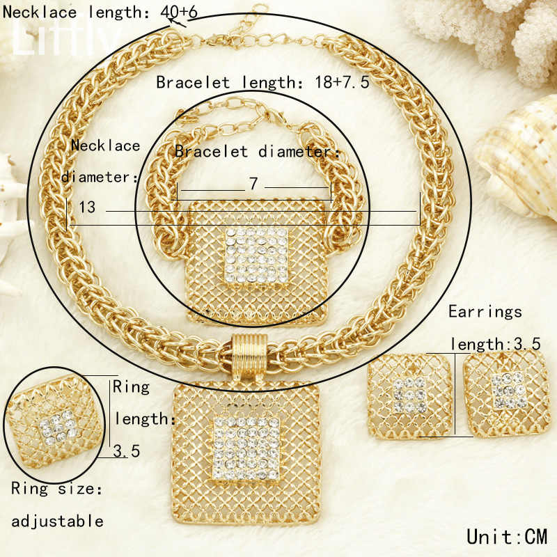 Liffly, regalo nupcial, Moda Africana, conjuntos grandes de joyas, cadena colgante, collar Dubai, conjunto de joyería de oro para mujer