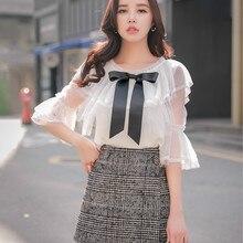Dabuwawa New Spring Women Ladies Fashion Grey Plaid Skirts Office Lady Elegant Button Short Mini D18CSK028