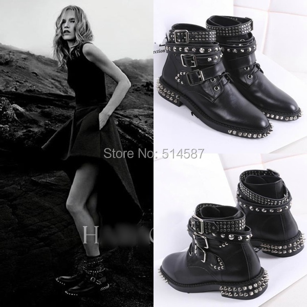 5274a88c07 US $119.55 |Punk fashion women motorcycle ankle boots studded and rivets  flat black leather booties buckle straps leisure shoes -in Ankle Boots from  ...