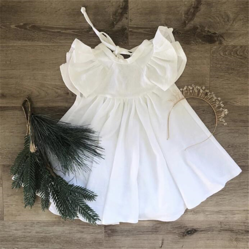 EnkeliBB Children Summer Twirl Dress Baby Girls White Dresses Trendy Dress Kids Short Sleeve Ruffle Long Dresses Beautiful Girls
