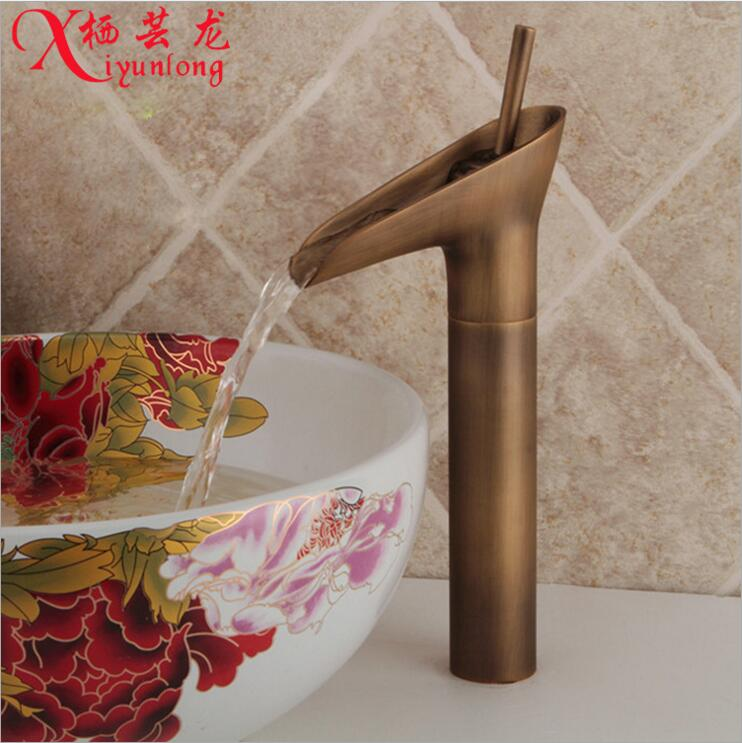 ФОТО European-style garden bathroom retro home decorantique copper basin faucet hot&cold tap washbasin heightening free shipping