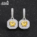 Effie Queen White Gold Plating Dangle Earrings with Yellow Zircon Stone Women Bijouterie Around Paved Micro Zircons DE127