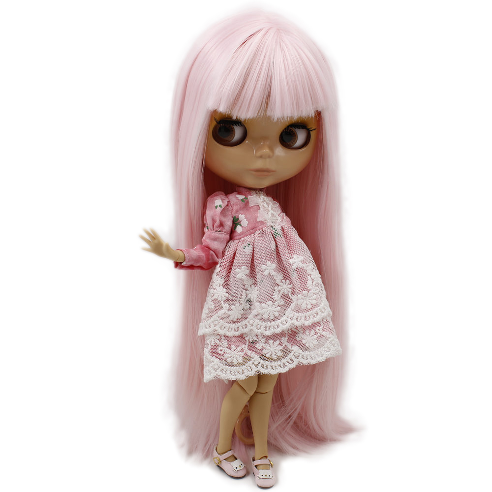 ICY Nude Blyth Doll Serires No BL1096 Pink Straight hair JOINT body burning skin with big