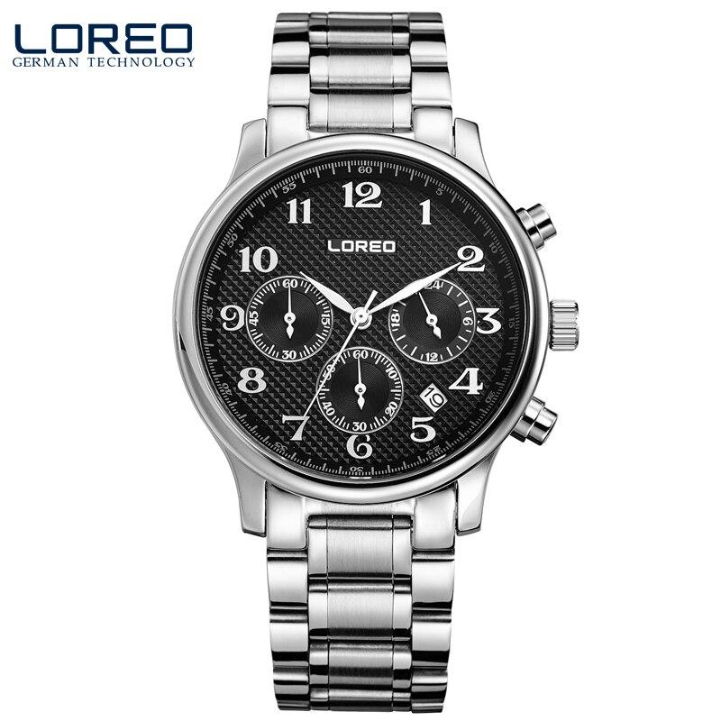 ФОТО LOREO quartz water resistant 5ATM black stainless steel Multifunction Calendar Chronograph