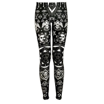 Geometric Skull Printing Slim Fit Leggings 1