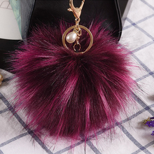 10CM Fluffy Artificial Raccoon Fur Keychain Pompom Ball Key Ring Holders Charm Women Bag Car Pendant Jewelry Trinket Accessories